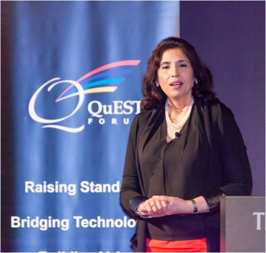 Deepti Arora, Nokia's vice president of Networks Quality, presenting at the QuEST Forum Best Practices Conference in Tokyo 2015.